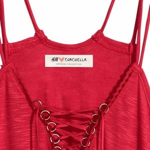 Coachella H&M Collaboration -Red Lace Up Tank